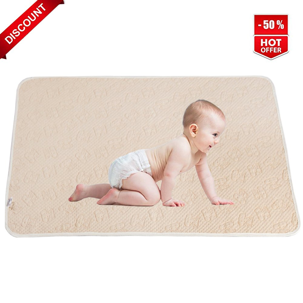Baby Waterproof Mattress Crib Bed Pads Breathable Organic Cotton Incontinence Sheet Protector Washable Changing Urine Mat for Toddler Adults Pet (L)