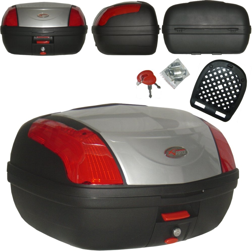 A-Pro Universal Motorcycle Case Boot 46 LT Chest, Quick Release, for Motorcycle and Scooter, Silver 5180000074074
