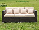 Stamo Rattan Sofa Outdoor Patio Furniture Set Couches Luxury Wicker 3 Seat with 3 Cushions and 4 Pillows Lawn All Weather (Beige)