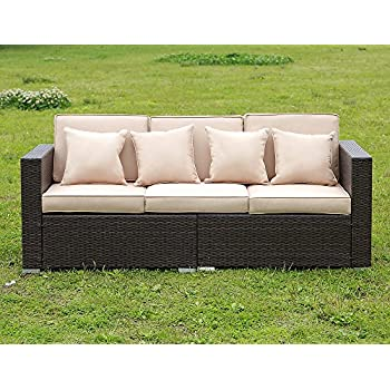 Stamo Rattan Sofa Outdoor Patio Furniture Set Couches Luxury Wicker 3 Seat  With 3 Cushions And Part 76