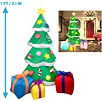 joiedomi 7 foot led light up giant christmas tree inflatable with 3 gift wrapped boxes perfect
