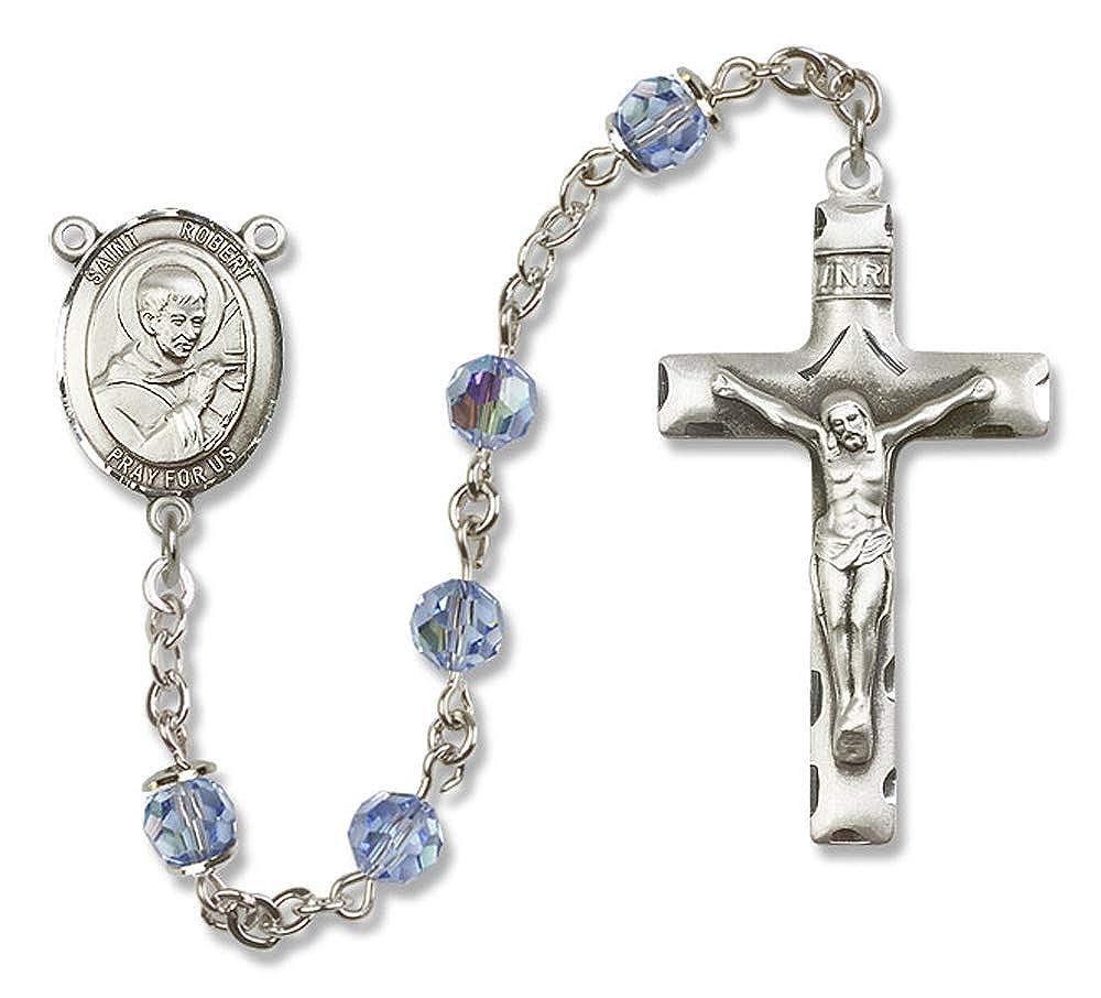 Robert Bellarmine is the Patron Saint of Catechists. St Austrian Tin Cut Aurora Borealis Beads St All Sterling Silver Rosary with Light Sapphire Robert Bellarmine Center 6mm Swarovski