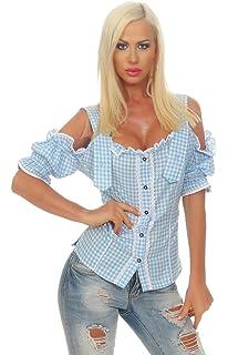 Trachten-bluse Dirndlbluse Damen Bluse Kurzarm Schwarz Weiß Kariert Oktoberfest