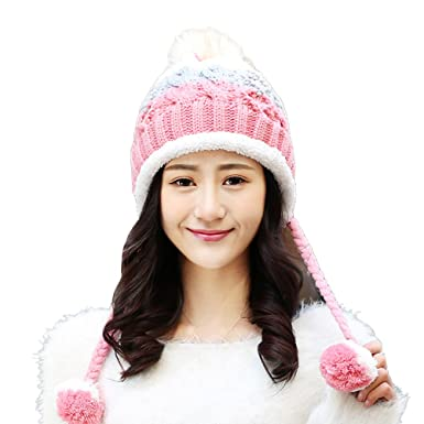 6653365575aa8 Tinksky Women Winter Hats Warm Fashionable Knit Beanie Cap Hat Warm for  Women Girls (Peach Red)  Amazon.co.uk  Clothing