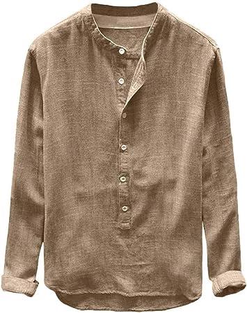 GreatFun Camisa Moda Hombre Otoño Invierno Botón Casual Lino Algodón Manga Larga Top Blusa Cuello de Solapa Camisas Blusas Un Solo Botonadura Botones Camisas Color sólido Manga Larga Slim Camisetas: Amazon.es: Hogar