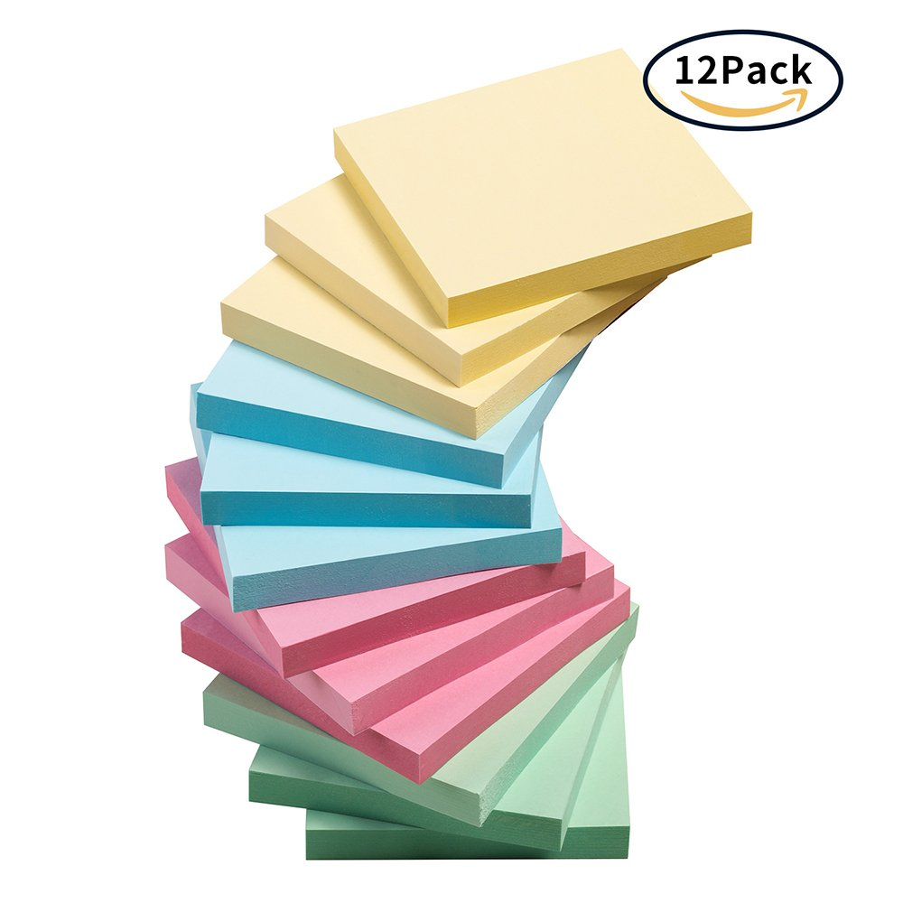 Sticky Notes, Handyhoffice 12 Pads Self-Stick Notes with 4 Candy Colors, 3 x 3 inches, 100 Sheets/Pad, Easy to Post, Suitable for Home, Office and School