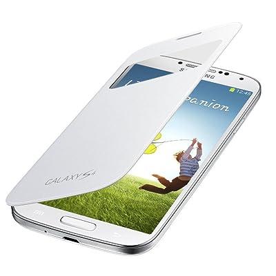 Samsung S-View - Funda para móvil Galaxy S4 (ventana frontal, teclas laterales), color blanco