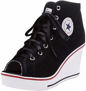 ea795461ddf0 Jiu du Women's Sneaker High-Heeled Fashion Canvas Shoes Lace UP Wedges Peep  Toe Shoes