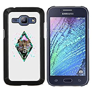 TECHCASE---Cubierta de la caja de protección para la piel dura ** Samsung Galaxy J1 J100 ** --diamante gris leopardo guepardo
