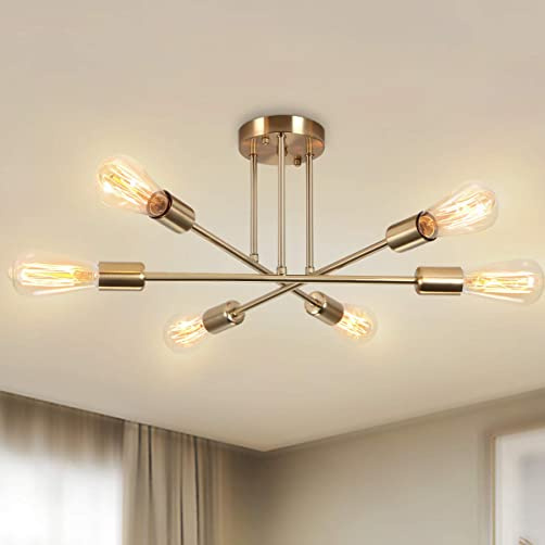 Sputnik Chandelier Lighting 6-Light,Modern Mid Century Ceiling Light Fixture