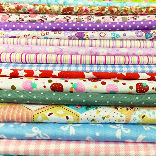 flic-flac 25pcs 8 x 8 inches (20cmx20cm) Cotton Craft Fabric Bundle Squares Patchwork Lint DIY Sewing Scrapbooking Quilting Dot Pattern Artcraft (25pcs 20cm20cm) (Toy Pattern Soft)