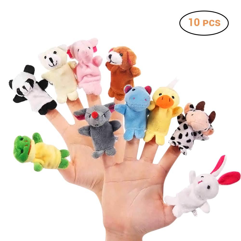 Mallalah Marionnettes à Doigt Drôles Animaux Poupée 10 pcs Finger Jouets Educatifs Interactif Soft Velvet Doll Prop pour Enfants Fille Garçon Bébé MD4WJ12315-177-2031502151