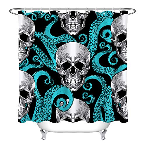 LB Custom Blue Octopus and Sugar Skull Shower Curtain Unique Design Funny Bathroom Decor Waterproof Polyester Fabric 72x72 Inches]()