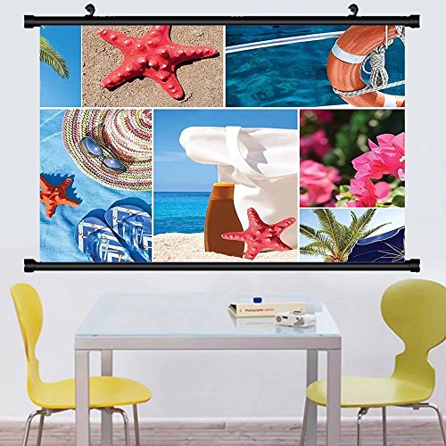 Gzhihine Wall Scroll Beach Collage of Summer Vacation Photos Starfish Palm Tree Hat Sunglass Flowers Flip Flops Wall Hanging Multicolor - Sun Selena Glasses Gomez