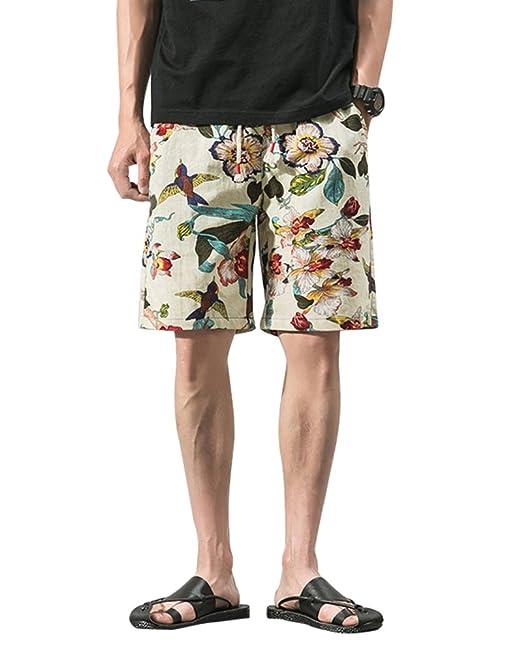 0f044989ac Hombre Impresión Retro Pantalones Cortos De Playa Estilo Étnico Lino  Shorts  Amazon.es  Ropa y accesorios