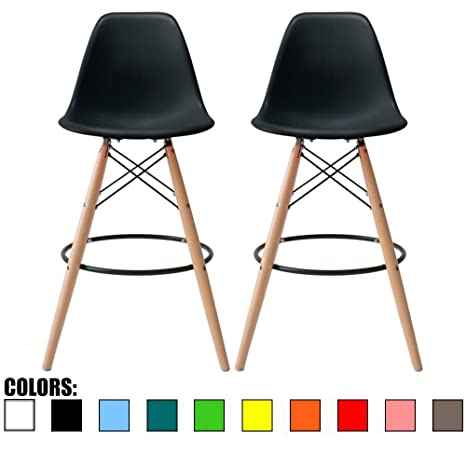Cool 2Xhome Set Of 2 28 Seat Height Black Mid Century Modern Plastic Side Armless No Arms Dsw Molded Shell Bar Stool Stools With Back Counter Height High Uwap Interior Chair Design Uwaporg