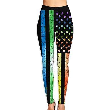 946eea4171c65c Amazon.com: Funny Rainbow American Flag Gay Pride Women's Yoga Capri Pants  Active Sport Workout Running Leggings: Clothing