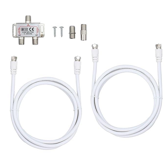 Justecheu 2 DE Distribuidor Radio Conector F Cable Adaptador Antena TV Sat Splitter Metal: Amazon.es: Electrónica