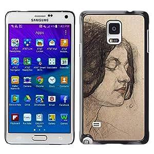 TopCaseStore / la caja del caucho duro de la cubierta de protección de la piel - Portrait Woman Brunette - Samsung Galaxy Note 4 SM-N910F SM-N910K SM-N910C SM-N910W8 SM-N910U SM-N910