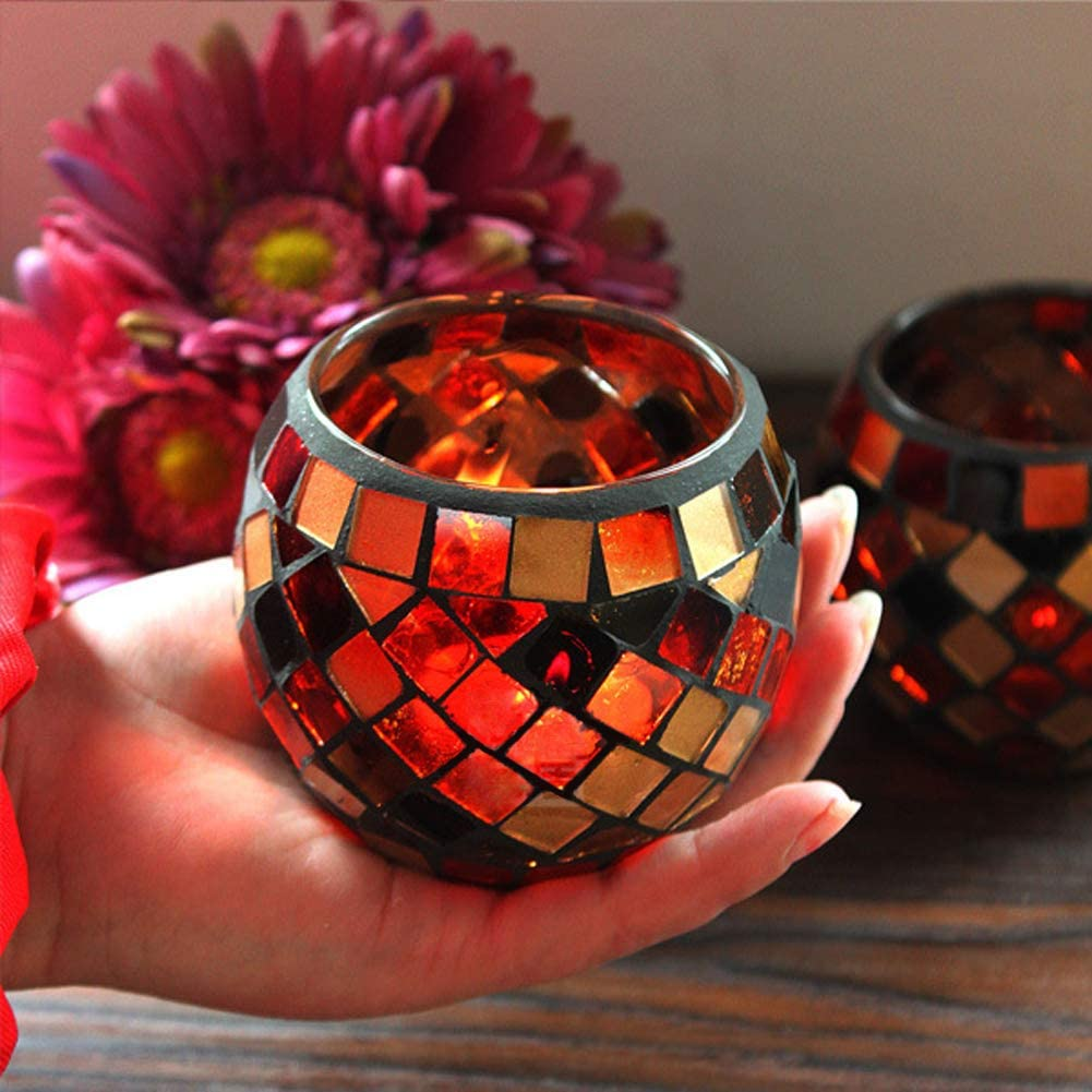 SOOFYLIA Orange Gold Mosaic Glass Tea Light Candle Holder, Romantic Handmade Gifts Votive Candleholder Christmas Candlestick Holders Table Centerpieces Home Decor Wedding Party Table Decorations