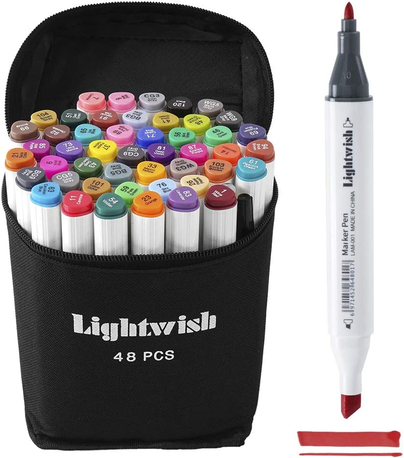 Dual Tip Markers Pen Alcohol-Based Ink Oily Painting Drawing Highlighter ILOE