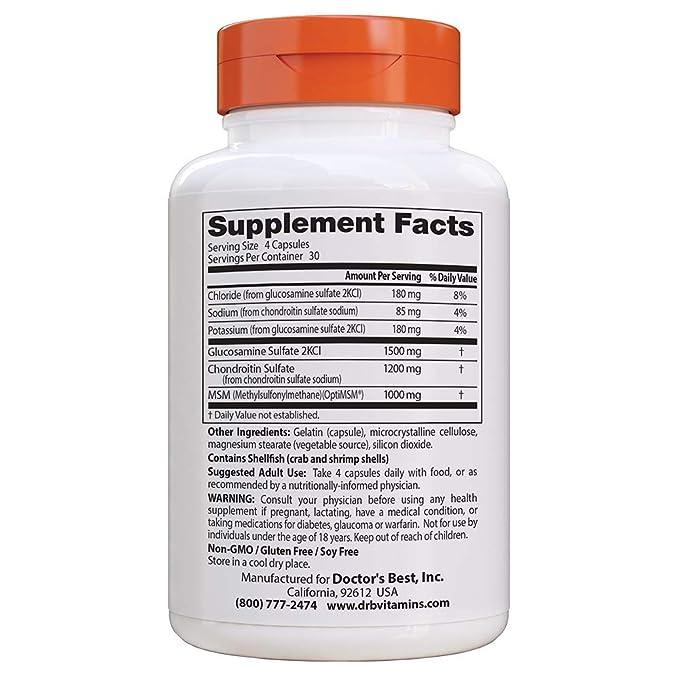 Doctors Best | MSM Glucosamina Condroitina con OptiMSM | 120 cápsulas vegetales | sin gluten y soya