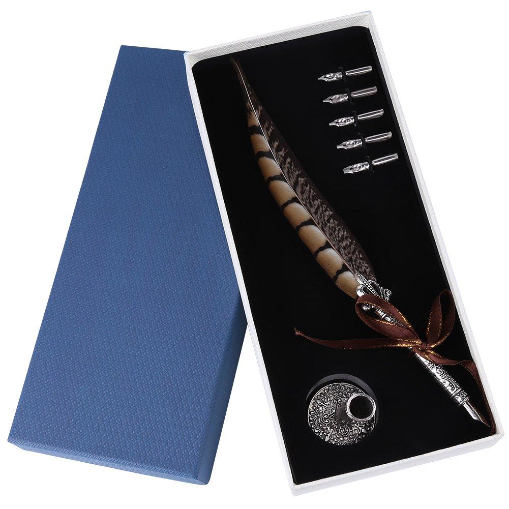 F/üller Schreibfeder Antike Feder Federkiel mit Verschiedenen Federtypen 5 Stiftkopf Federkiel-Dip-Stift +Stifthalter # 2 Asixx Feather Quill Pen Set