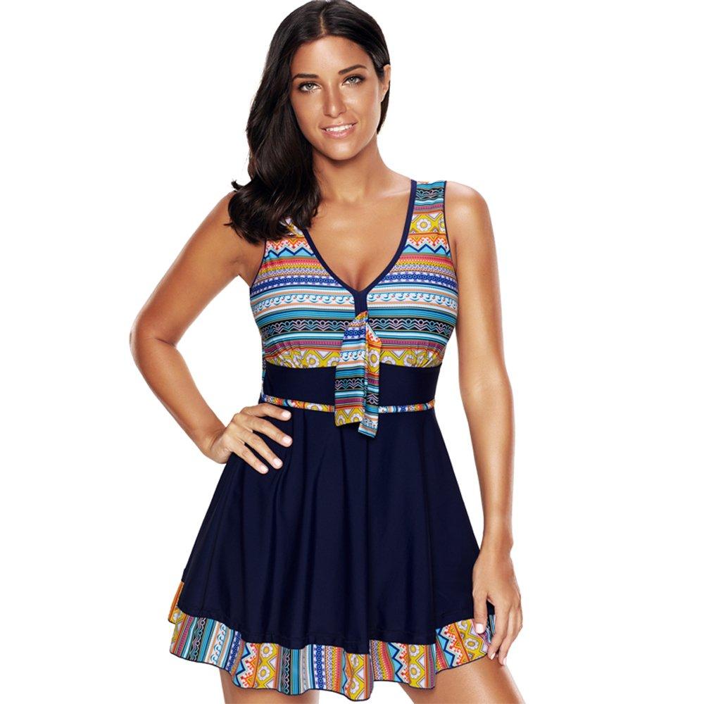 X-Sunshine Women\'s Flower Swimwear Plus Size Swimdress One Piece Swimwear  Bathing Suit Tribal Printed Swimsuit Beach Wear