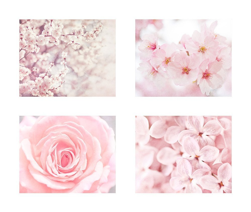 Pink Flower Wall Art, Cherry Blossom Pictures, Floral Rose and Lilac Decor, Set of 4 8x10 Matted Photographic Prints (fits 11x14 frames) 'Pink'