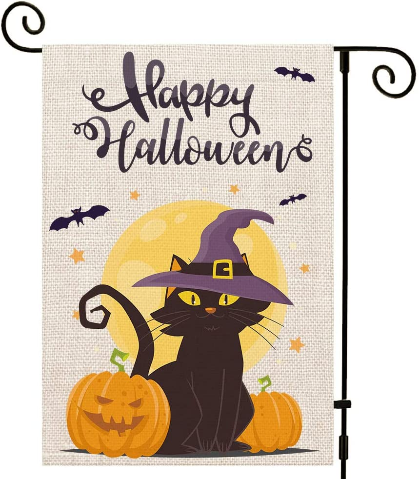 UPINLOOK Happy Halloween Garden Flag Vertical Double Sided, Burlap Fall Halloween Yard Flag Black Cat Pumpkin Bat Farmhouse Outdoor Decor 12.5 x 18 Inch