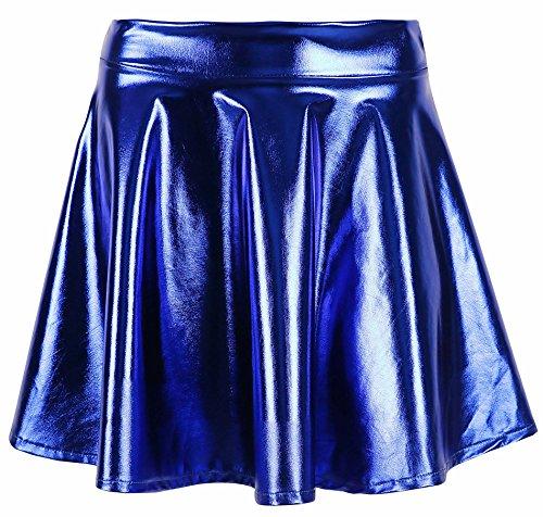 - Women's Liquid Metallic Skirt Wet Look Flared Skater Skirt Dress, Blue