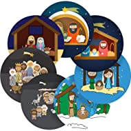 "Christmas Nativity Scene Reward Sticker Labels, 70 Stickers @ 1"" inch, Glossy Photo Quality, Ideal for Children Parents Teachers Schools Doctors Nurses Opticians"