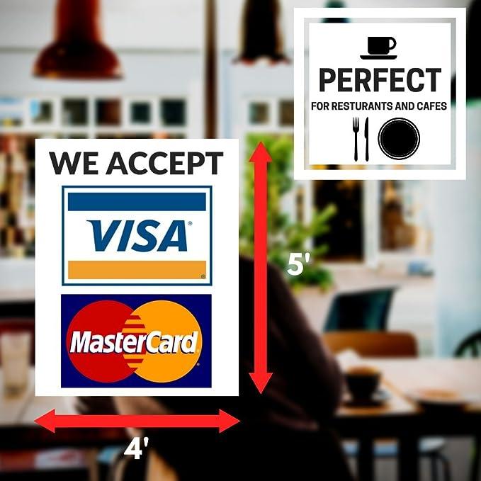 2X Accettiamo Visa MasterCard Sticker