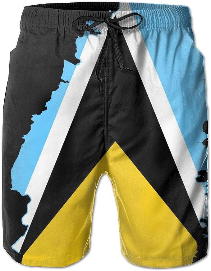 Boys Belgian Flag Classic Quick Dry Swim Trunks Elastic Drawstring Swim Shorts with Pocket