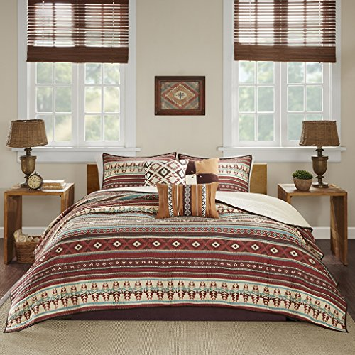 Madison Park Taos Full/Queen Size Quilt Bedding Set - Rosewood Red, Geometric - 6 Piece Bedding Quilt Coverlets - Ultra Soft Microfiber Bed Quilts Quilted Coverlet