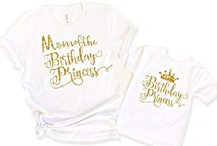 f8236a92 Amazon.com: Mommy and Me Shirt Baby Girl Mom of Birthday Girl Princess:  Handmade