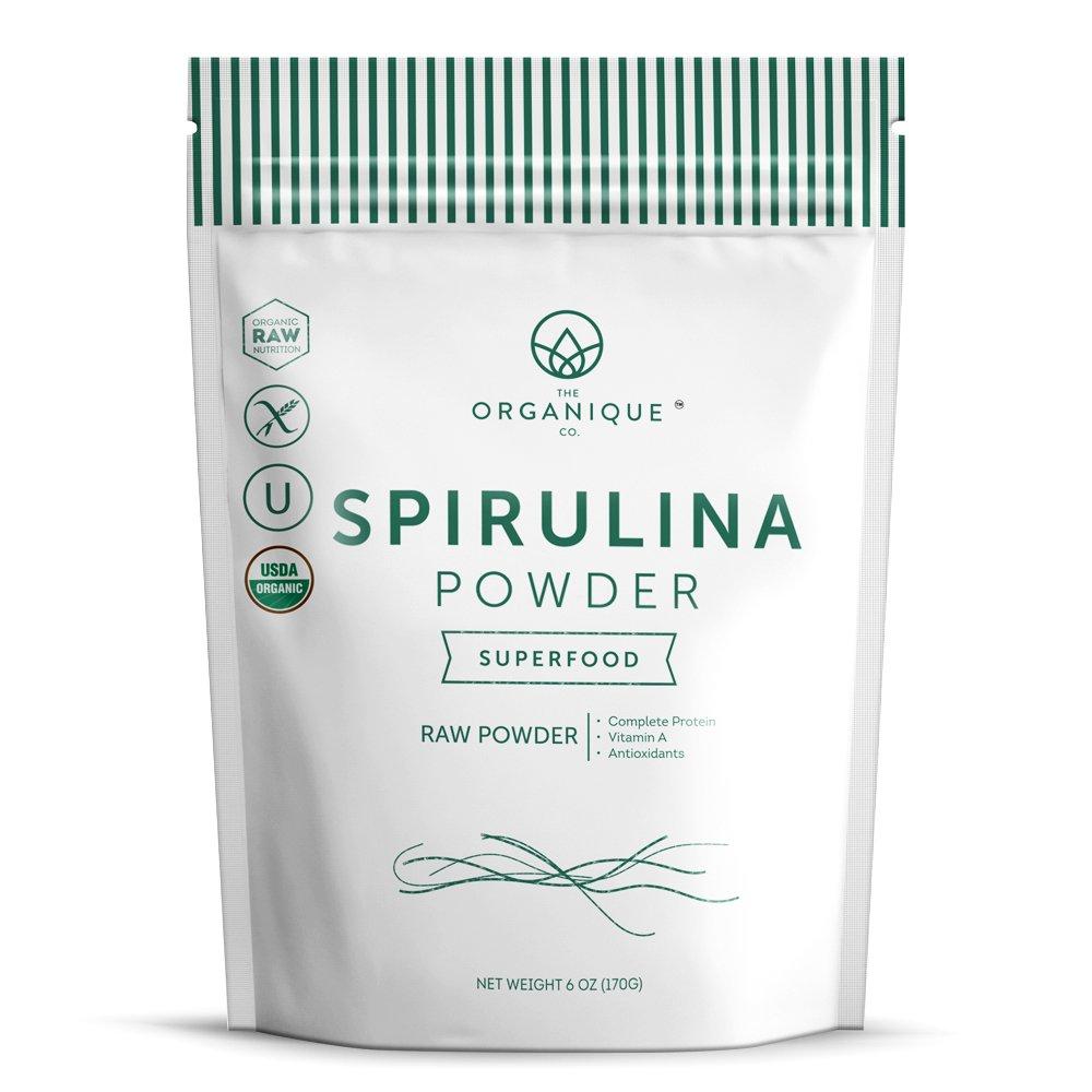 Spirulina Powder - Boosts Energy, Supports Immunity - Certified Organic Superfood, Non-Irradiated, Raw, Non-GMO, Vegan, Gluten Free, Pesticide Free - Maximum Bioavailability - by Organique 6 oz
