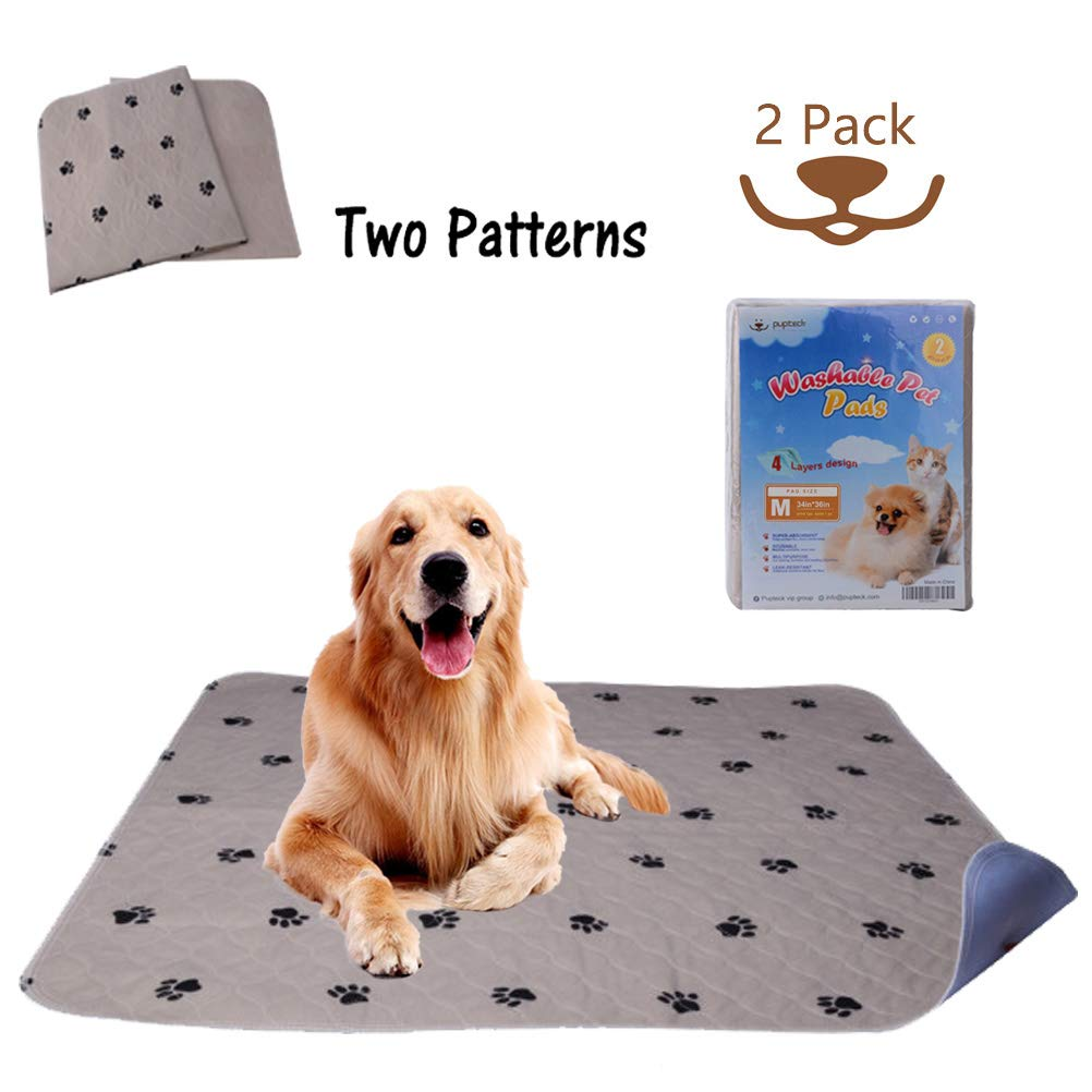 M PUPTECK 2 Pack Reusable Dog Pee Pads Waterproof and Washable for Your Pet Training Housebreaking- Size Medium  34 x 36