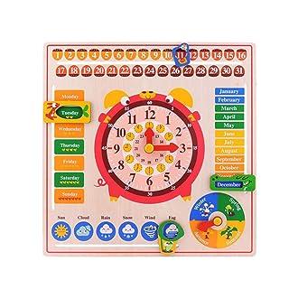 SPFTOY Giocattolo Intellettuale Calendario Orologio Board precoce educazione Giocattoli di Legno Puzzle 2-6 Anni