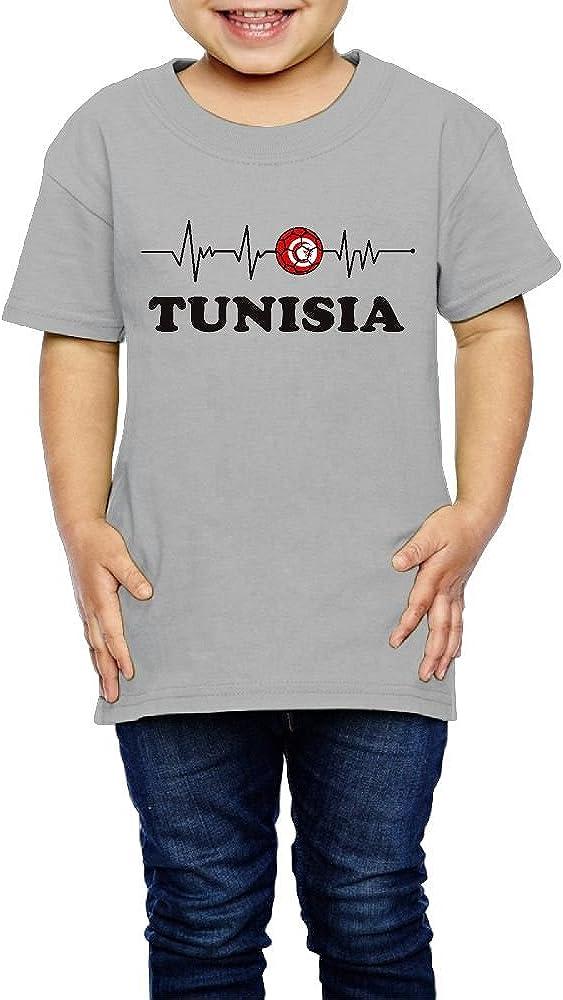 2-6 Years Old Soccer Heartbeat I Love Tunisia Children Cute T-Shirt Tops Short Sleeve Tee