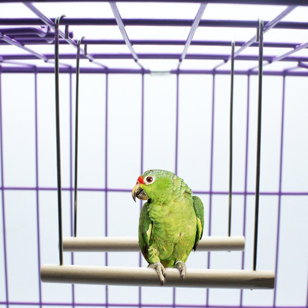 Wodwad Natural Wooden Birds Perch Parrots Hanging Swing Cage Pendant Toys Stand Holder