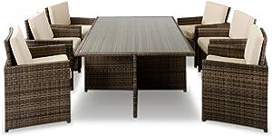 VIG Furniture VGUBBARCELONA-RECT Renava Barcelona - Rectangular Compact Table 6 Fold-out Chairs and 6 Individual Ottoman Patio
