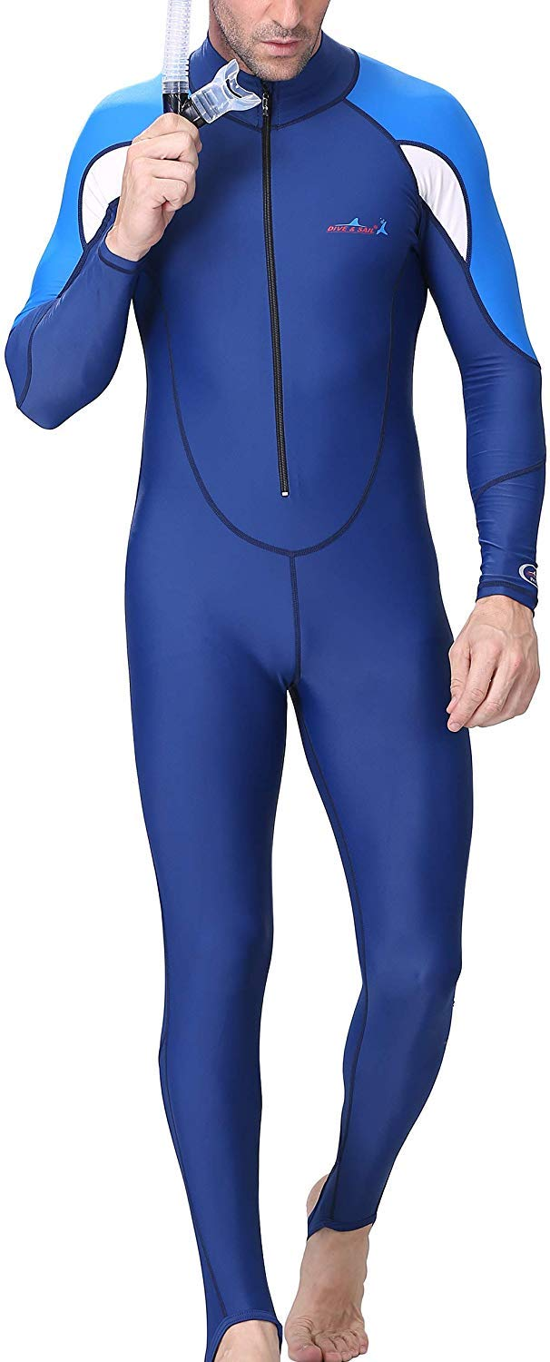 A Point Snorkeling Swimming Full Suit Bodysuit Wetsuit Swimsuit For Men/Women (M(160-166CM), men's navy/white) by A Point swimsuit
