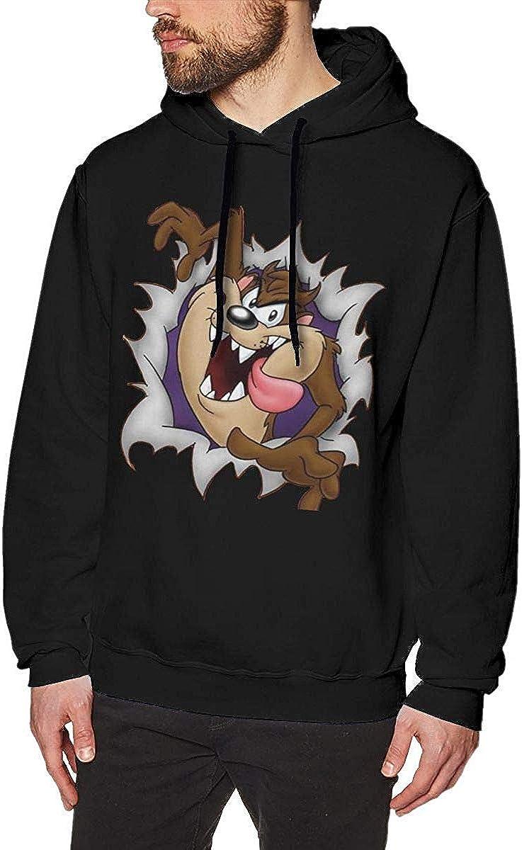 Sweats /à Capuche pour Hommes Looney Tunes Tasmanian Devil Taz Cool Bonnet et Pull sans Poche Homme Noir