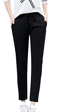 6ce72e25a8b82 Pantalon De Loisirs Femme Taille Élastique avec Cordon De Serrage Pantalon  7/8 Elégante Uni