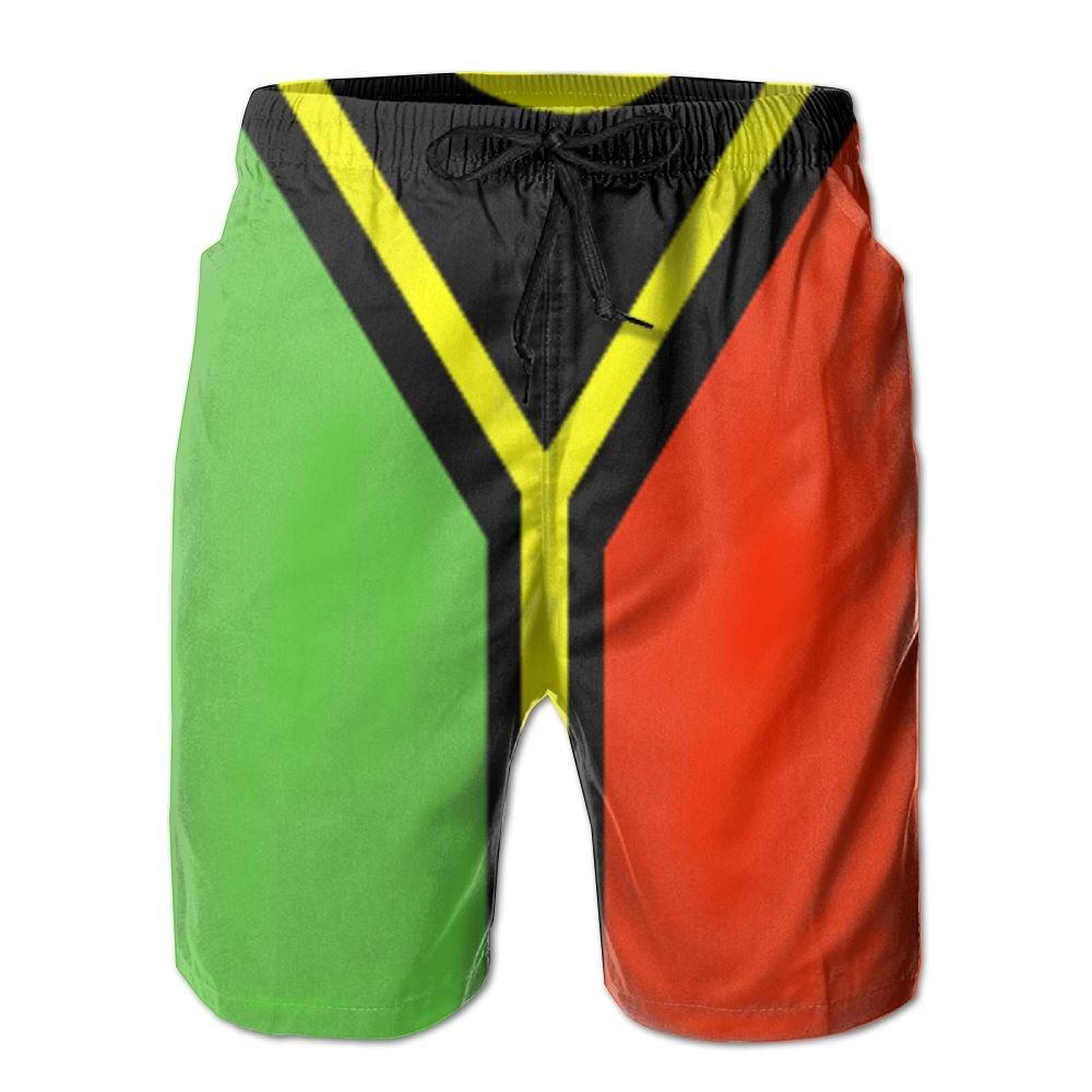 MIPU SHANGMAO Mens Vanuatu Flag Summer Beach Shorts Leisure Quick Dry Swimming Pants