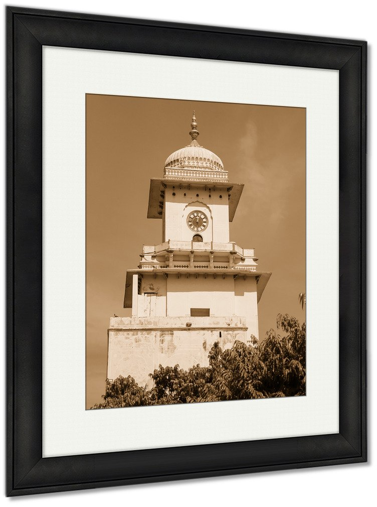 Ashley Framed Prints Clock Tower In City Palace Jaipur India, Wall Art Home Decoration, Sepia, 30x26 (frame size), Black Frame, AG5961415