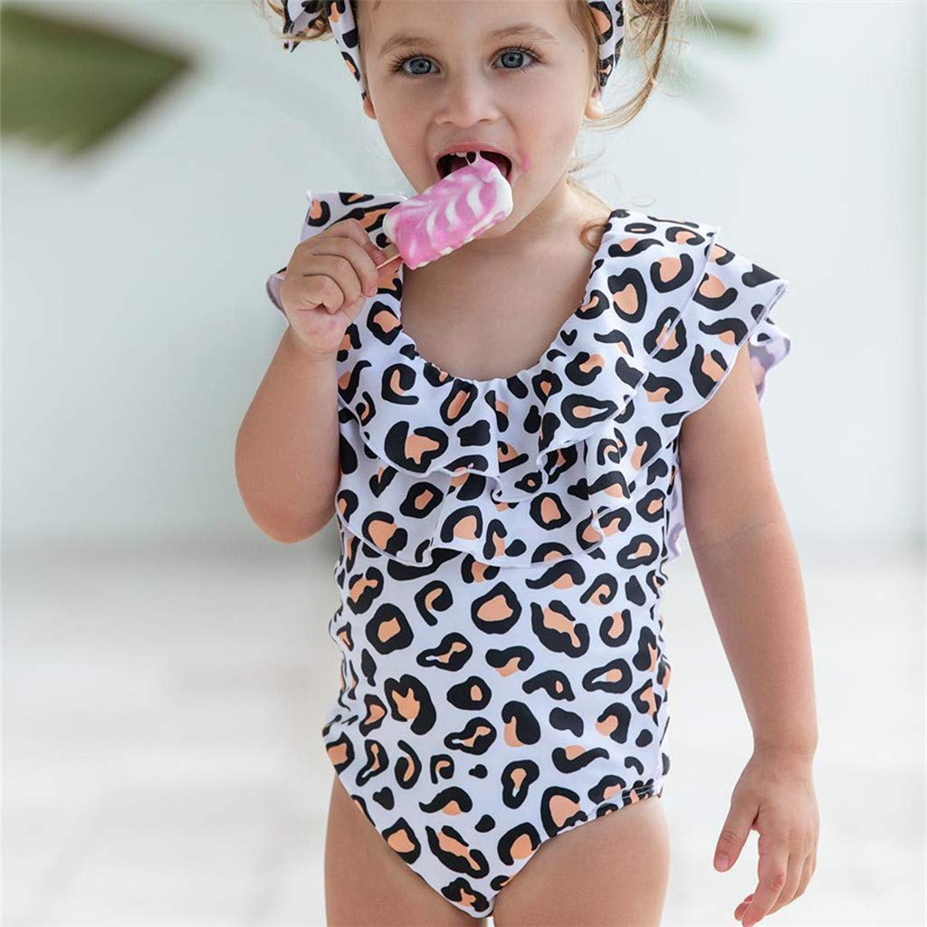 Kehen Family Matching Swimsuit Mommy and Me Swimwear Falbala One Piece Dots Printed Ruffles Monokini Bathing Suit