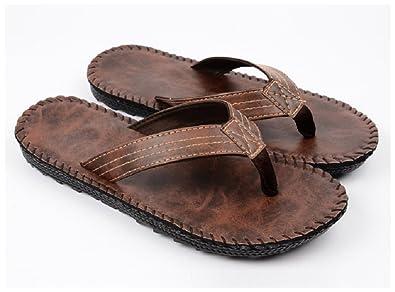 f64a94ff3ede Hanxue Mens Designer Flip Flops Shoes Sandals Brown US7