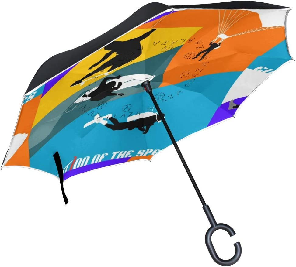 Double Layer Inverted Umbrellas with Scuba Skateboarding Surfing Print C-Shaped Handle Umbrella Windproof Reverse Folding Umbrella for Car